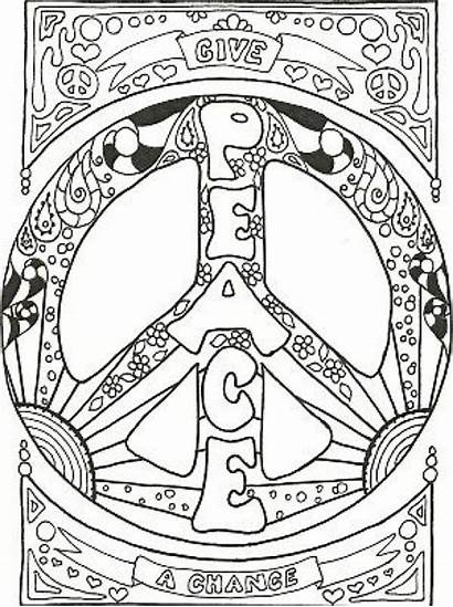 Coloring Pages Peace Sign Adult Adults Colorear