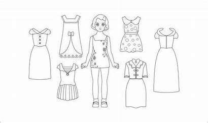 Paper Dolls Coloring Doll Template Printable Pages