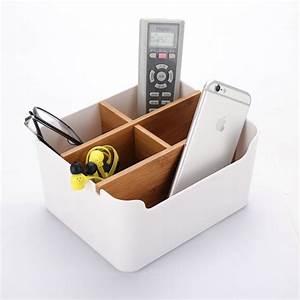 Modern, Bamboo, Desk, Organizer, Multifunction, Office, Supplies, Storage, Box