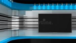 TVstudio Blauwe Studio De Achtergrond Voor TV Toont TV Op Muur Nieuws S Stock Illustratie