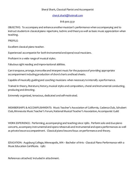 Le Pianiste Resume by Piano Performance Resume
