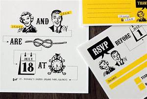 funny wedding invitation set with yellow retro design With wedding invitations 50s style