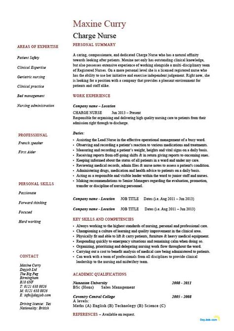 charge resume nursing healthcare exles