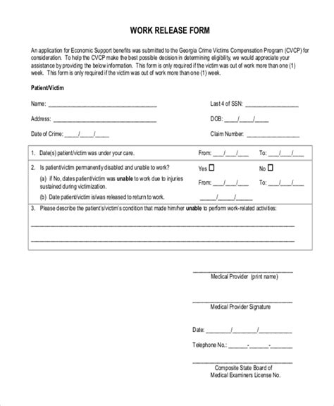 20119 work release form sle release forms 22 free documents in word pdf