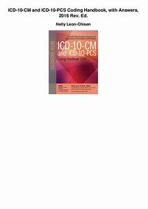 Icd 10 Cm And Icd 10 Pcs Coding Handbook With Answers 2016