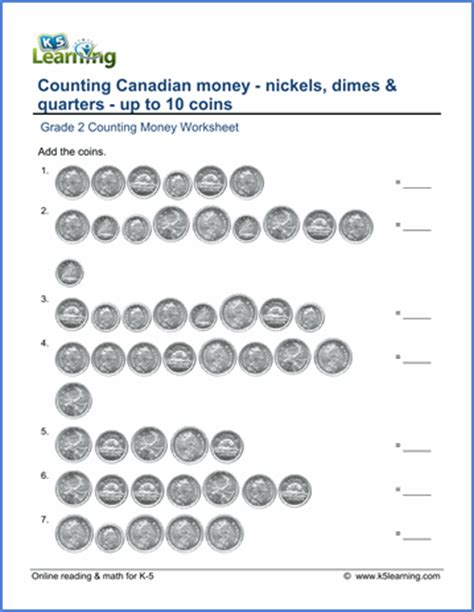 grade 2 canadian money worksheet count nickels dimes