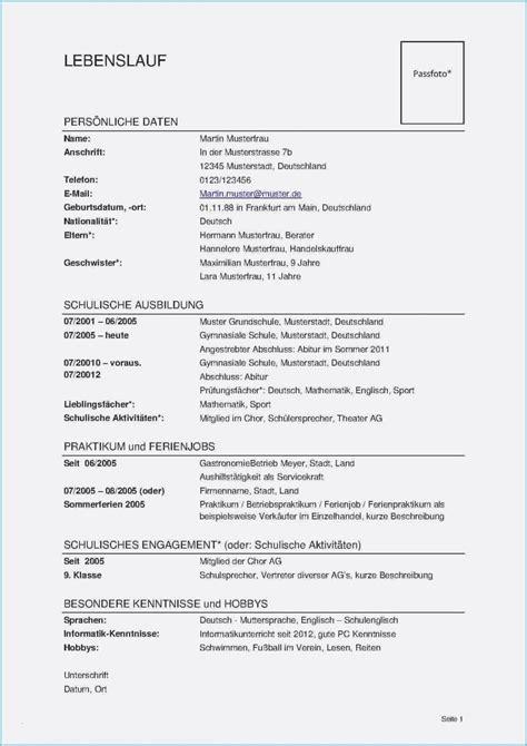Lebenslauf Muster Word by Lebenslauf Muster Word Dokument Bewerbungsschreiben
