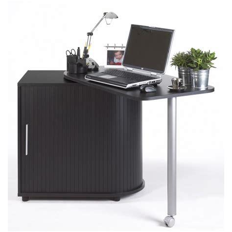 bureau informatique noir bureau informatique noir pivotant et rideau imprimé