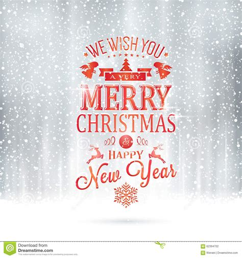 red silver merry christmas typography card  snowfall