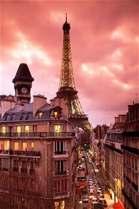 paris street scene  eiffel tower  red sky fine art