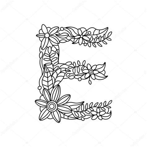 Kleurplaat Mandala Letters by Letter E Kleurboek Voor Volwassenen Vector Stockvector