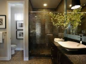 Image of: Small Master Bathroom Remodel Idea Dark Ceramic Tile Artistic Master Bathroom Design Using Natural Stones
