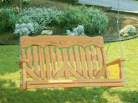 amish made pine wood high back porch swing