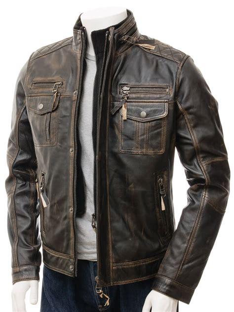 brown distressed leather motorcycle jacket distressed