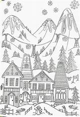 Coloring Winter Adult Printable Skiing Ski Whimsical Resort Adults Colouring Village Sheets Scenery Easy Cartoon Gcssi Bear sketch template