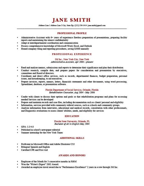 professional profile resume templates resume genius