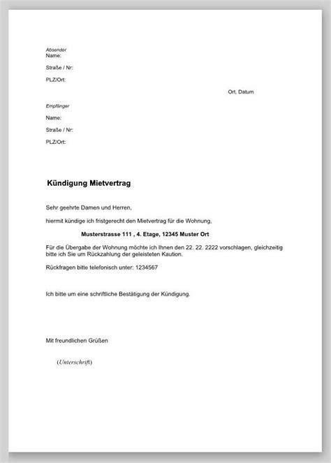 kündigung mietvertrag musterbrief k 252 ndigung mietvertrag musterbrief