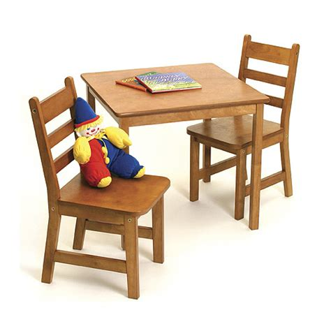 childrens wooden table  chairs pecan  kids furniture