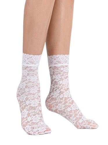 Womens Lace Ankle Socks One Size Regular Floral
