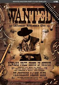 Wanted Western Party Flyer Template by lou606 GraphicRiver