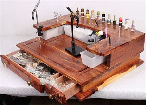 fly tying desk setup fly tying bench desk handmade rustic cedar 27 quot w x