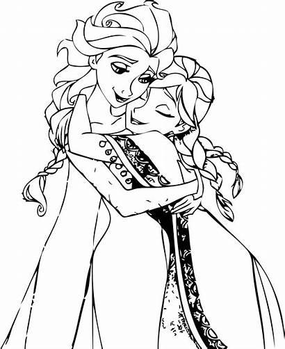Coloring Hug Pages Elsa Anna Printable Getcolorings