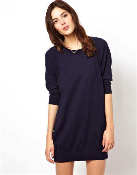 wedges heels lyst asos oversize sweater dress with raglan sleeve in blue