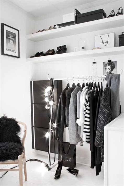 black and white closet space storage
