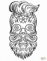 Coloring Skull Sugar Hipster Skulls Printable Supercoloring Drawing Adult Cif Categories sketch template