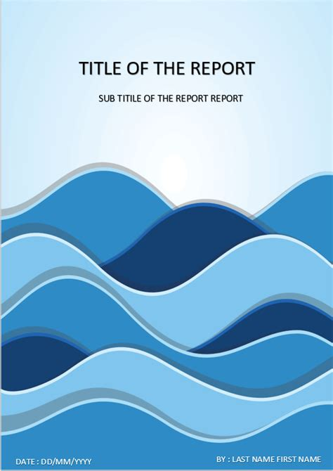 cover page  template  ms word waves cover page