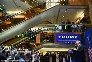 trump donald tower announcement atrium announces presidential speech bid president obama wealth spoke opulent tried selling lower he personal huge