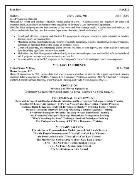 District Loss Prevention Manager Resume by Air Sergeant Resume Exles