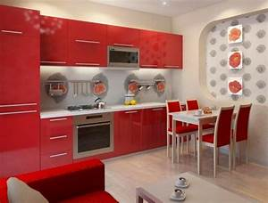 bright interior decorating with red poppy floral designs With kitchen cabinets lowes with red floral wall art