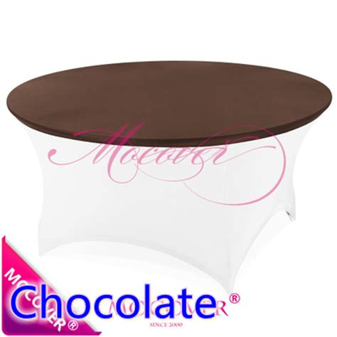 6 foot round table top chocolate spandex tablecloth table cover fit for 5ft 6ft