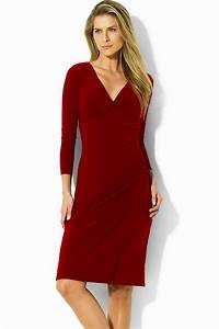 Ralph Lauren – Red Jersey Dress – Front   VogueMagz ...