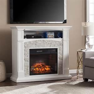 Shop, Harper, Blvd, Stratford, White, Faux, Stone, Infrared, Electric, Media, Fireplace
