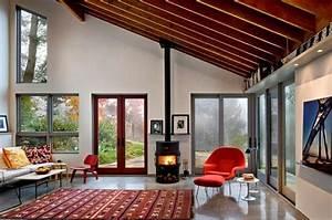 1001 designs superbes pour un salon feng shui With tapis rouge avec canapé en bois design