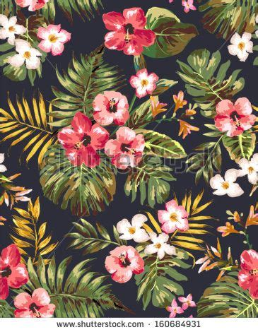 hand draw tropical flowerblossom cluster pattern