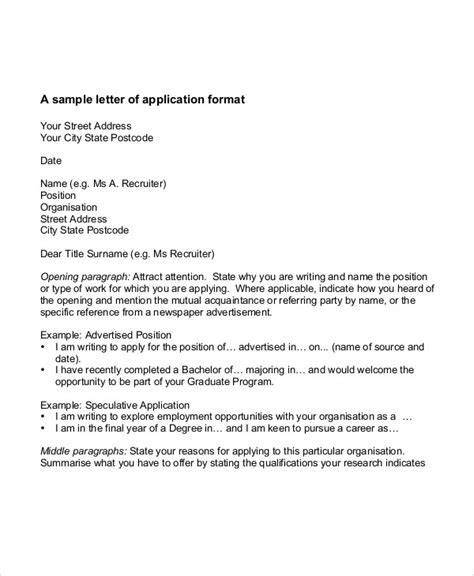 write job application letter employment letter