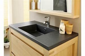 meuble sous vasque en bois chene clair novomeuble With miroir salle de bain chene clair