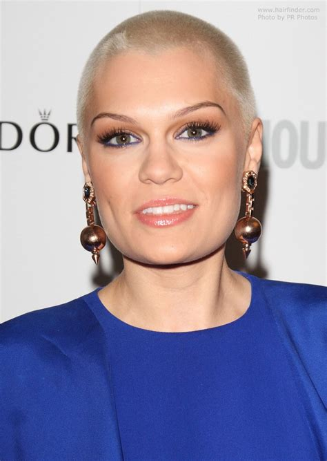 Jessie J with her shaved and practically bald head