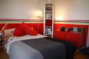 peinture chambre rouge et noir chaioscom With chambre gris et rouge