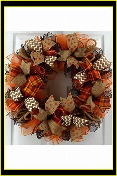 Wreath Mesh Fall Wreaths Door Monogram Deco