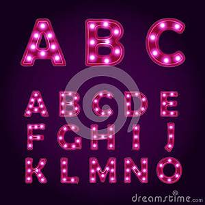 Neon Light Letters Alphabet Vector Font Illustrations