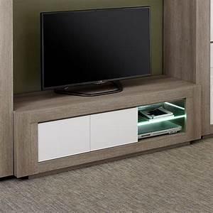 Meuble Tv Blanc Laqué Et Bois : meuble tv moderne 2 portes 2 niches blanc et bois avec led ~ Teatrodelosmanantiales.com Idées de Décoration