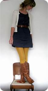 Blue dress with yellow tights and brown boots | Clothing I ...