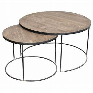 French set of two round coffee tables for Circle coffee table set