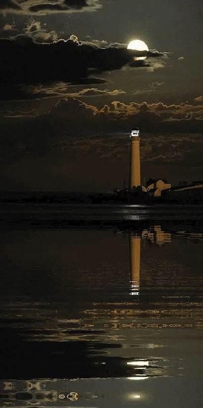 Lighthouse Night Moon Sea Farol Stormy Ocean
