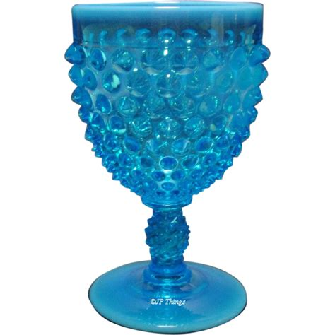 fenton blue l fenton glass blue opalescent hobnail footed water
