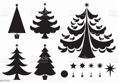Christmas Silhouettes Vector Trees Icons Various Lit